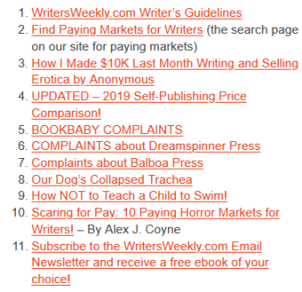 Writers Weekly Top 10